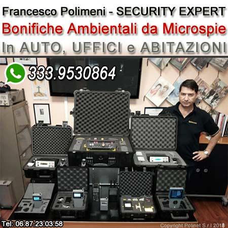 Bonifica ambientale da Microspie eseguite da Francesco Polimeni esperto di sicurezza delle informazioni a Roma