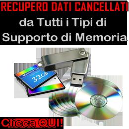 recupero dati cancellati da tutti i tipi di supporto di memoria