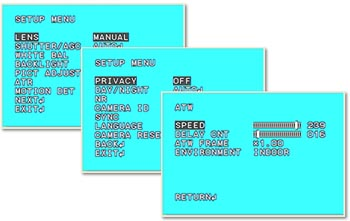 menu osd microtelecamera