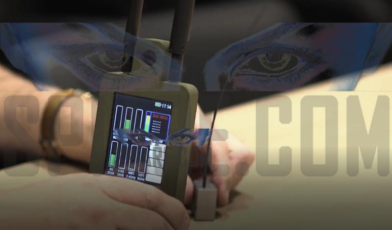 rilevatore di microspie indica su display la distanza dal trasmettitore