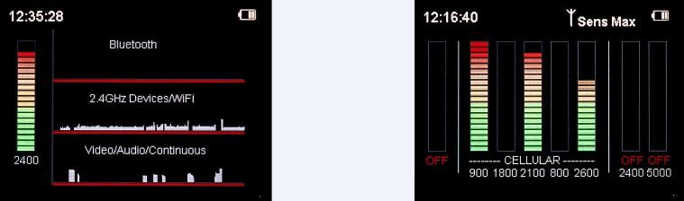 schermata delle frequenze bluetooth, wifi  e video rilevate dallo strumento di bonifica da microspie