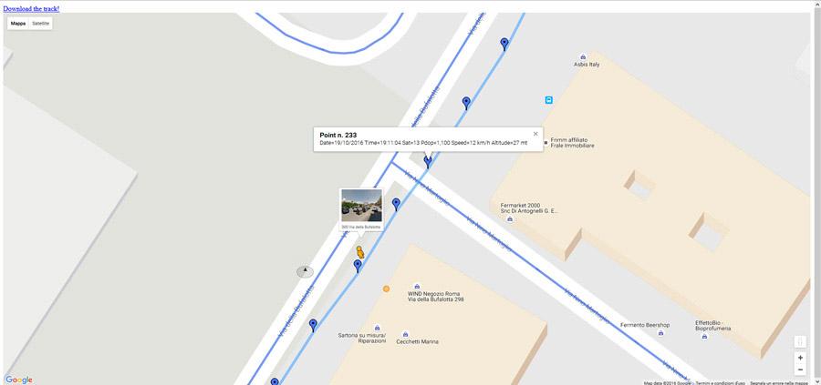 ingrandimento storico posizioni localizzatore gps per auto tramite piattaforma web