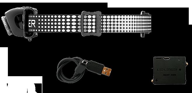 torcia frontale con fascia per testa cavo usb e batteria ricaricabile