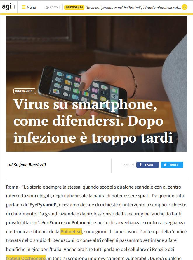 virus e software spia sul smartphone come difendersi leggi l'intervista di Francesco Polimeni
