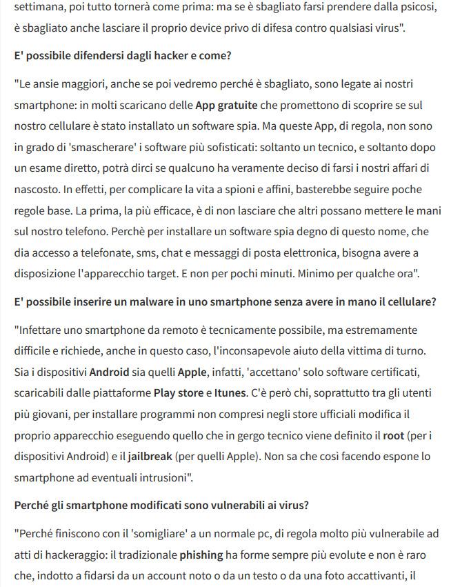 viurs smartphone cellulari spia Francesco Polimeni intervistato per AGI spiega come aviene l'infezione